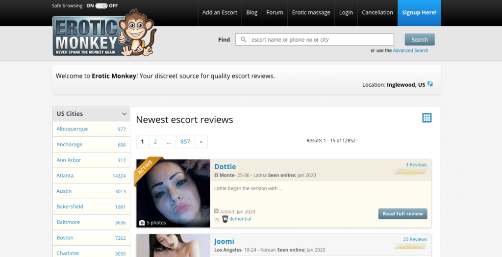 home page of one of the best escort sites called erotic monkey