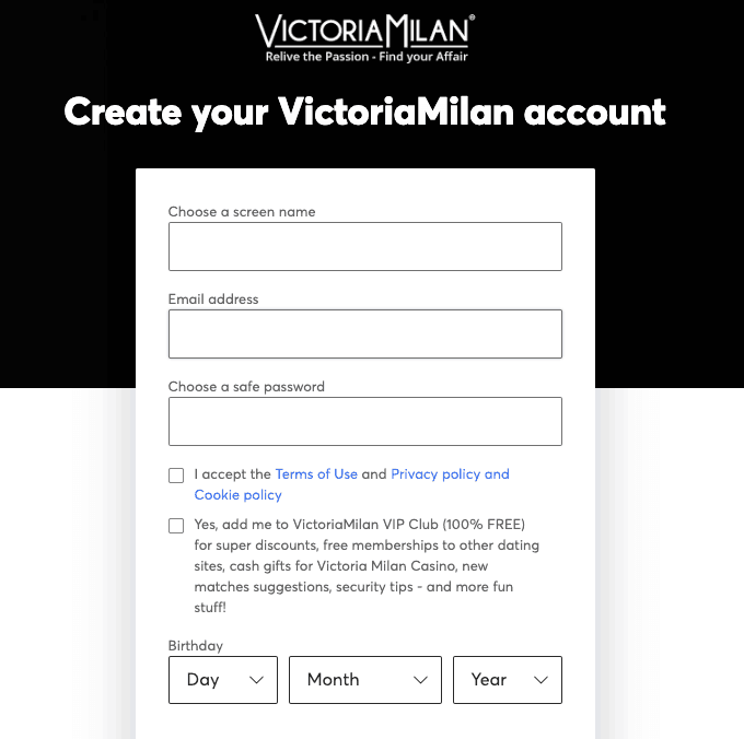 signup page of victoria milan