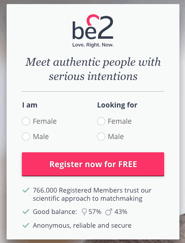 be2 signup form