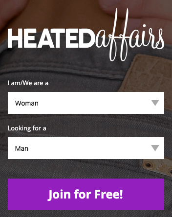 step one of signup page on heated affairs